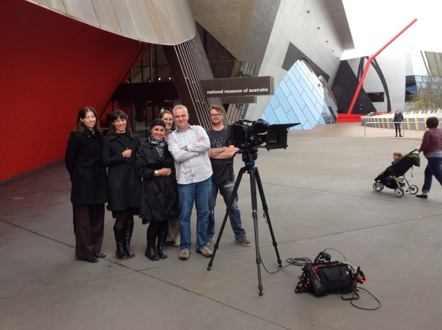Fatima Killeen with NMA staff and film crew after filming at the National Museum of Australia