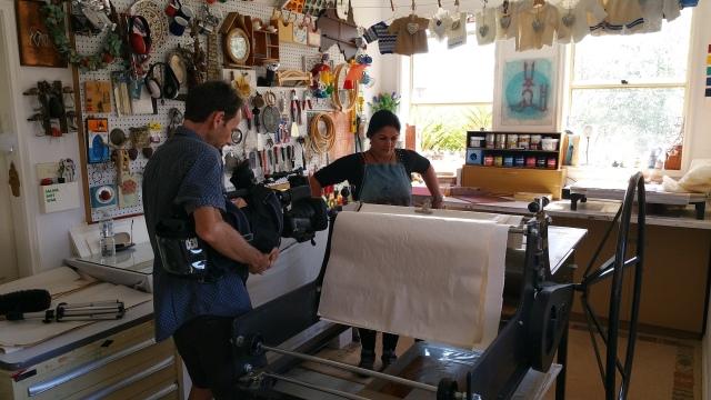Fatima Killeen in her studio filming for the ABC Australia Wide program