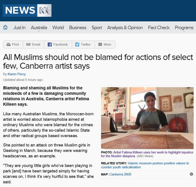 All Muslims should not be blamed for actions of select few - Canberra artist Fatima Killeen